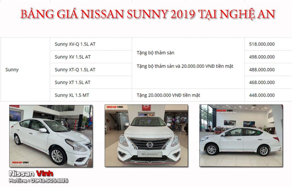 BẢNG GIÁ NISSAN SUNNY 2019 - Nissan Vinh